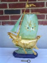 Lenzkirch Bronze Porcelain Ship Clock