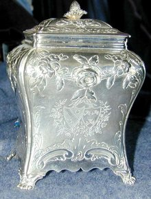 Georgian Hugenot Sterling Armorial Tea Caddy