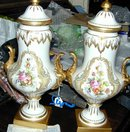 Pair of Sevres Pattern Covered Urns