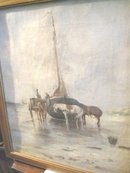 Antique Dutch Boat and Horses Painting