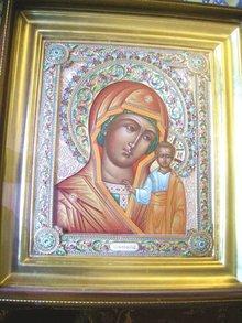 Fabulous Large Enamel Icon Virgin of Kazan