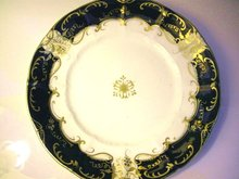 English Plate c.1820 Cobalt, Gold& White