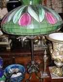 Antique Lamp w. Shade Signed by Tiffany(?)