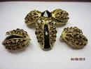 SCHREINER NEW YORK Domed Black Glass & Topaz Brooch & Clip Earrings