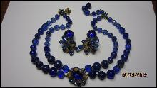 DeMario Royal Blue Art Bead Necklace & Clip Earrings Set