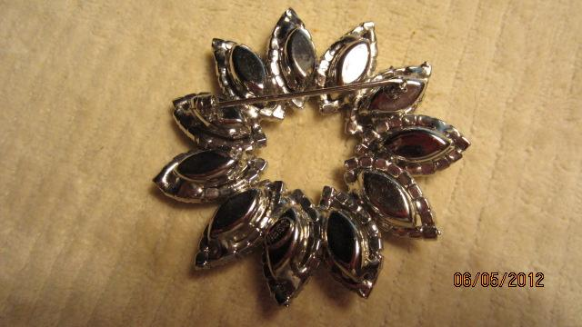 WEISS Vintage Smoky Topaz Rhinestone Flower Brooch