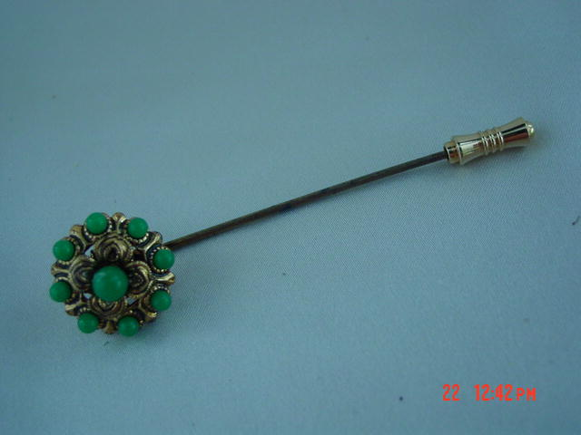 Gold Filigree Stick Pin With Green Cabachons Made in West Germany