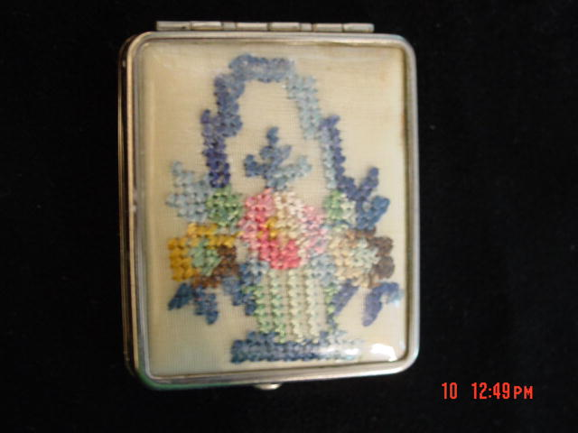 Vintage Petit Point Rouge and Powder Compact