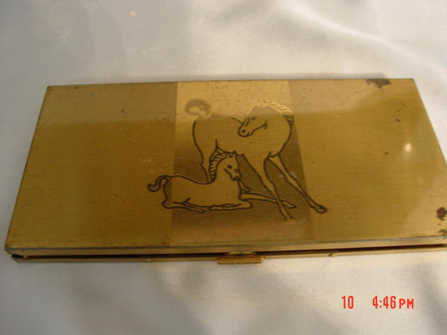 Goldtone Cigarette Case With Horse and Colt