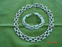 Vintage 50's Goldtone Marino Enamel Necklace & Bracelet