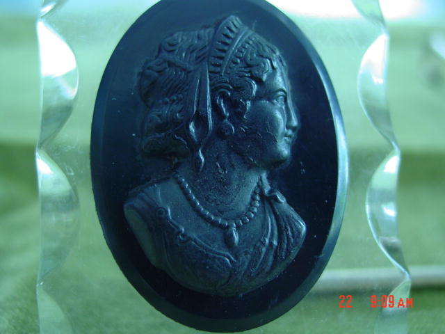 Book Piece 2 Sided Lucite Black Celluloid Mourning Cameo Pendant