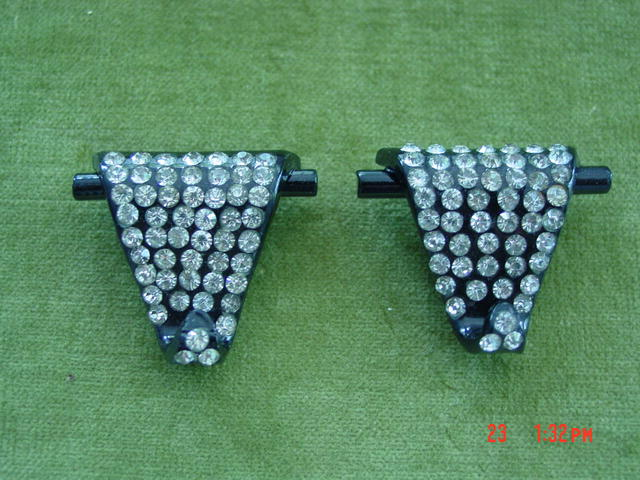 Art Deco Black Plastic & Rhinestone Fur, Dress or Shoe Clips