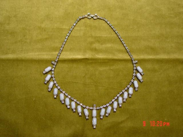 Vintage 1950's Powder Blue Glass Cabochon & Sapphire Blue Rhinestone Necklace