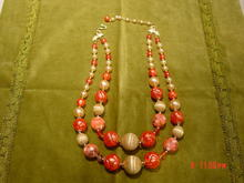 Vintage 1950's 2 Strand Coral, Imitation Pearl & Art Bead Necklace Marked Japan