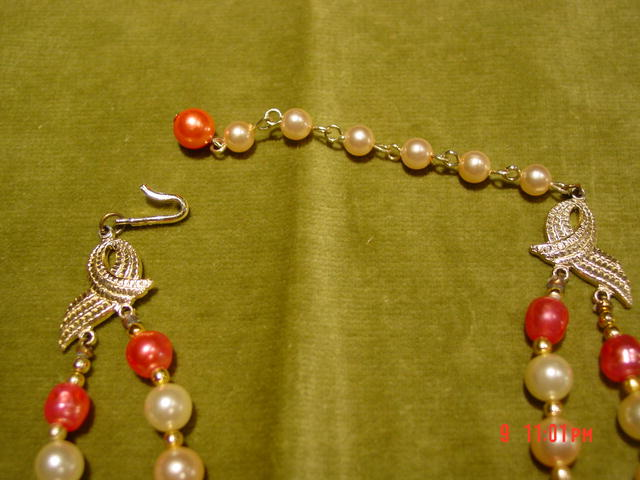Vintage Japan 1950's 2 Strand Coral, Imitation Pearl & Art Bead Necklace