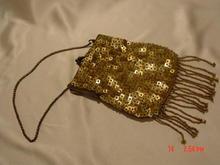 Vintage Gold Sequins & Seed Beads Fringed Purse Handbag