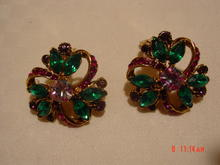Green & Hot Pink Rhinestone Clip Earrings