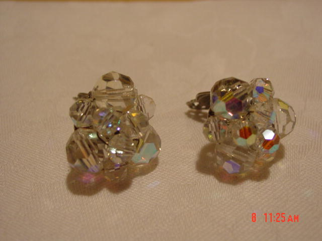 Sparkling Pair of Round Faceted Arora Borealis Crystal Bead Clip Earrings