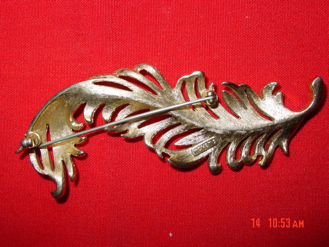 Monet Goldtone Feather Plume Pin Brooch