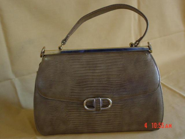 Vintage Tan Faux Alligator Purse Handbag