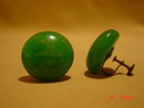 Marbelized Green Bakelite Button Screwback Earrings
