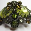 SCHREINER Glass Olivine Topaz Domed Brooch & Clip Earrings