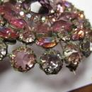 HUGE Signed Schreiner New York Pink Flower Brooch Pendant & Clip Earrings