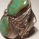 HUGE Native American Navaho Sterling & Turquoise Matrix Cuff Bracelet