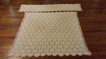 Antique Ecru Popcorn Crocheted Coverlet Bedspread & Pillow Cover Spread
