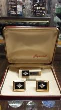 Heyward Gold Filled Onyx & Diamond Cuff Links & Tie Clip Set