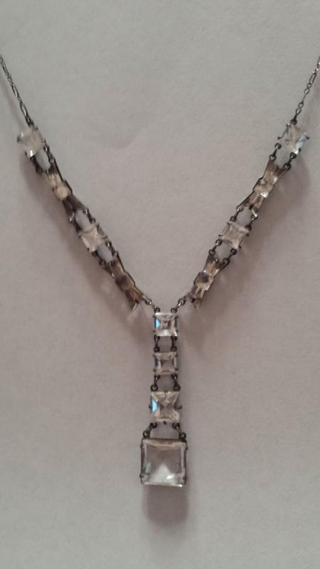 1920's Sterling Art Deco Open Back and Vauxville Mirror Glass Bow Tie Rock Quartz Crystal Necklace
