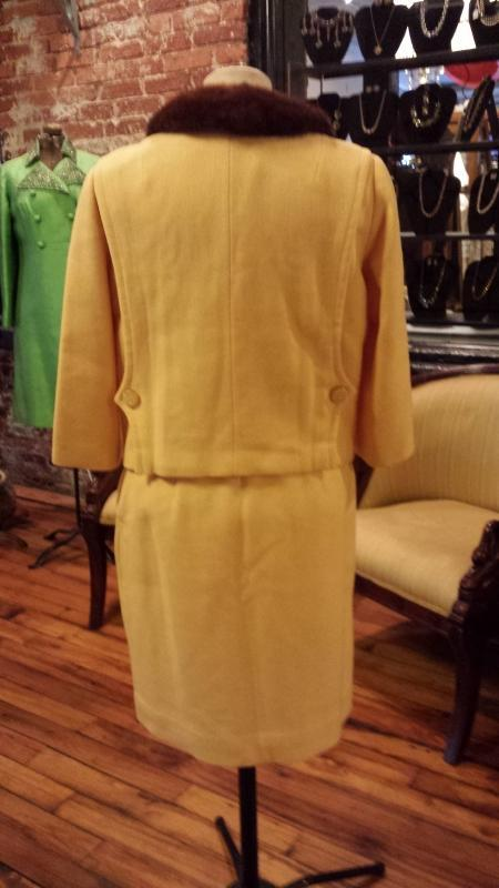 Vintage Jackie O Style Canary Yellow Wool Skirt and Jacket Suit with Mink Collar