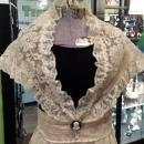 Vintage Couriers California Black Velvet & Ivory Lace Gown with Shawl Size 9/10