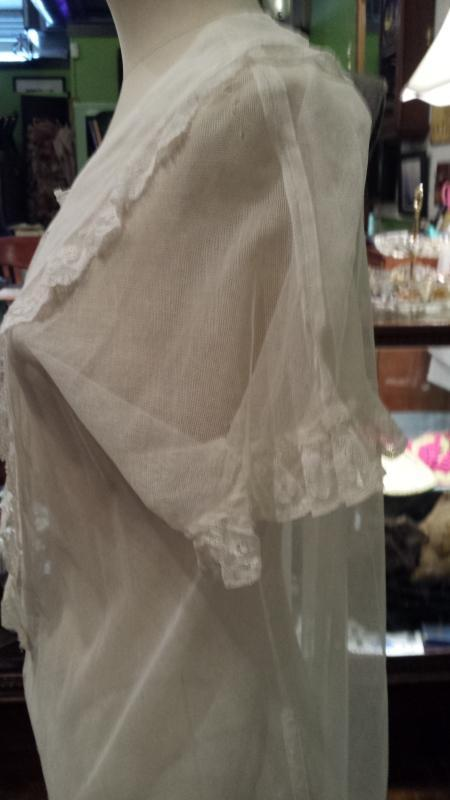 Antique Victorian White Gauze & Lace Tea or Garden Dress