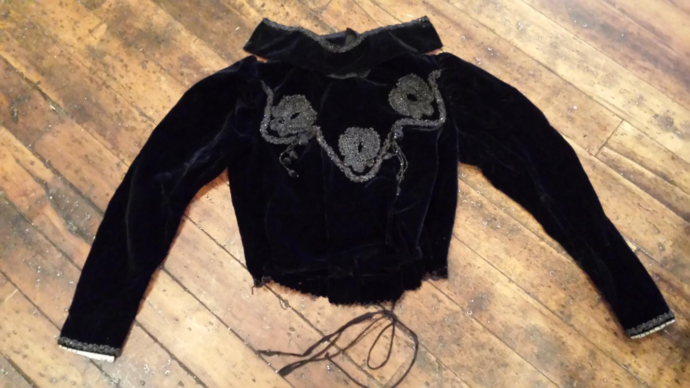 Antique Victorian Black Velvet Beaded Mourning Blouse Jacket