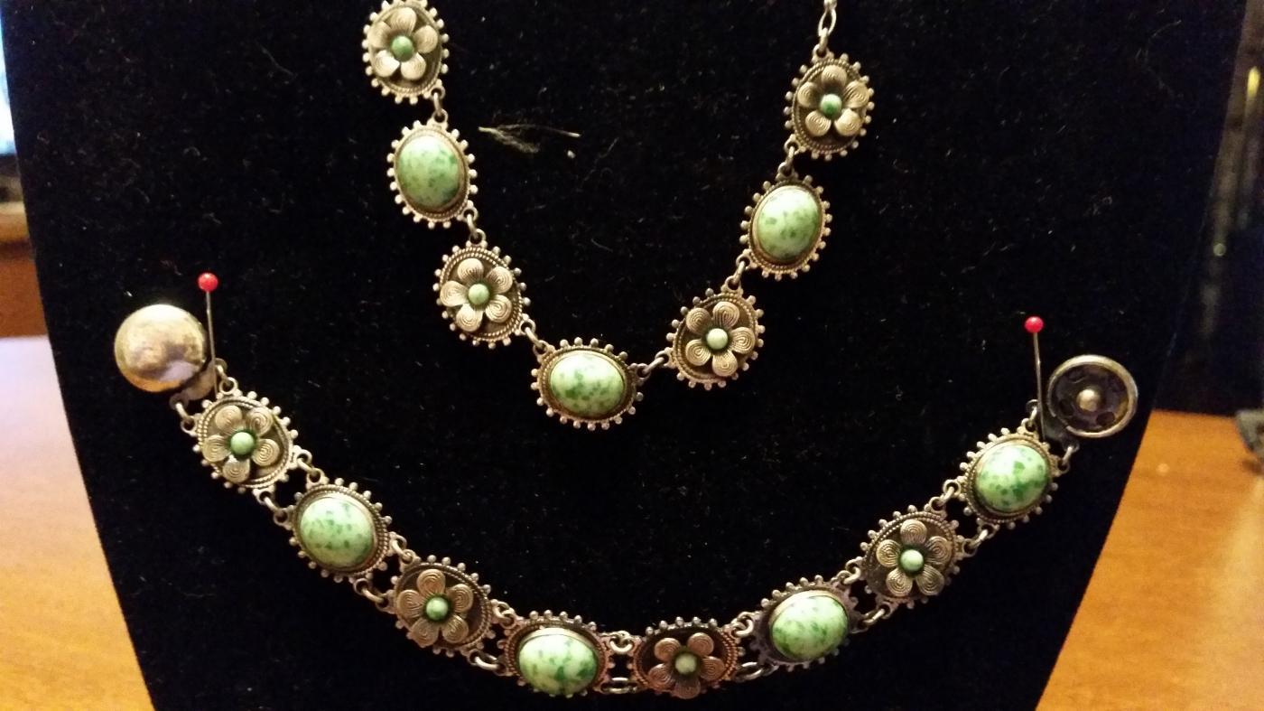 Antique Etruscan Sterling & Jadeite Necklace & Bracelet
