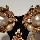Robert DeMario Baroque Pearl & Rhinestone Brooch & Clip Earrings