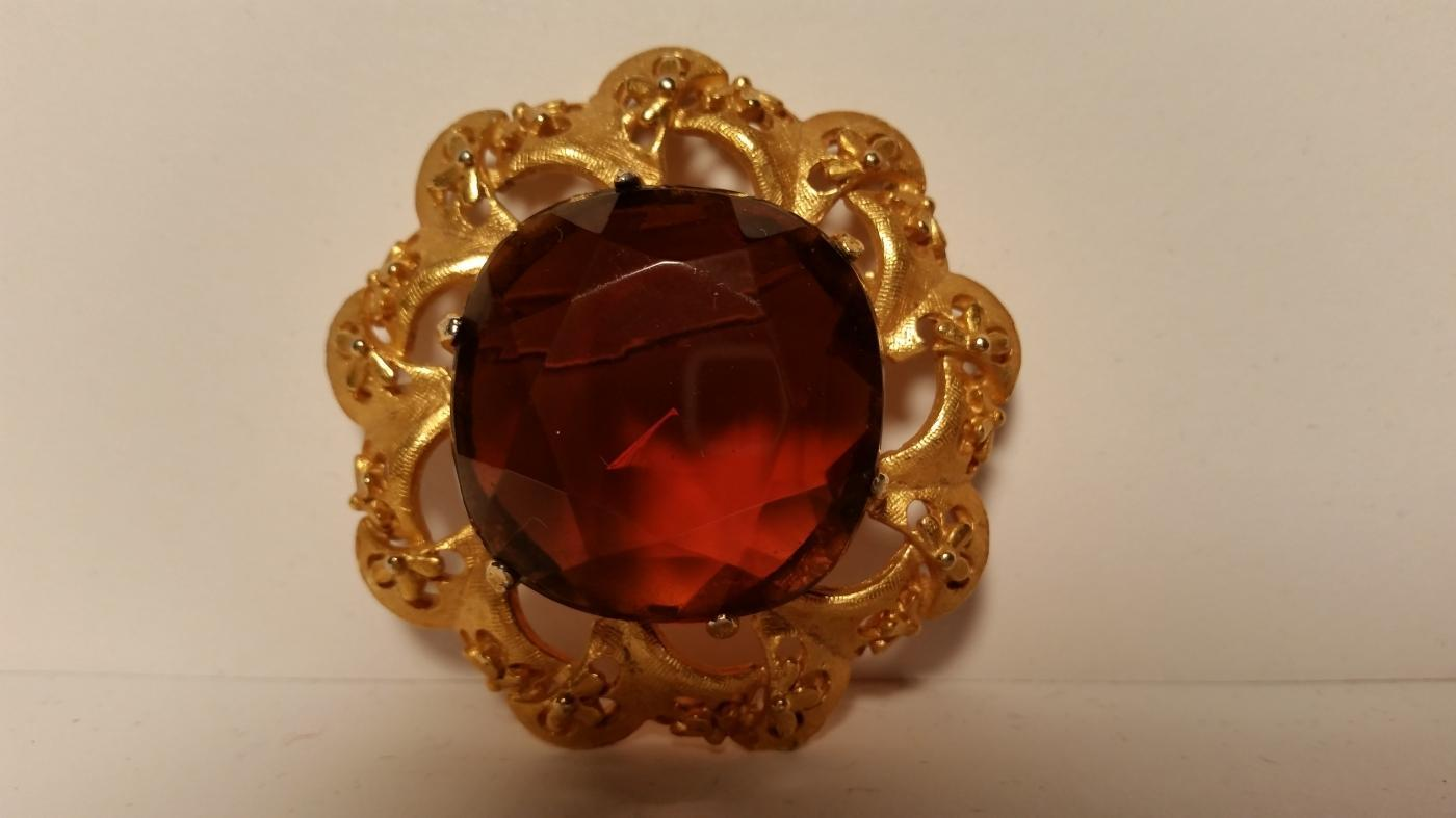 Florenza Amber Stone Pendant Brooch & Clip Earrings