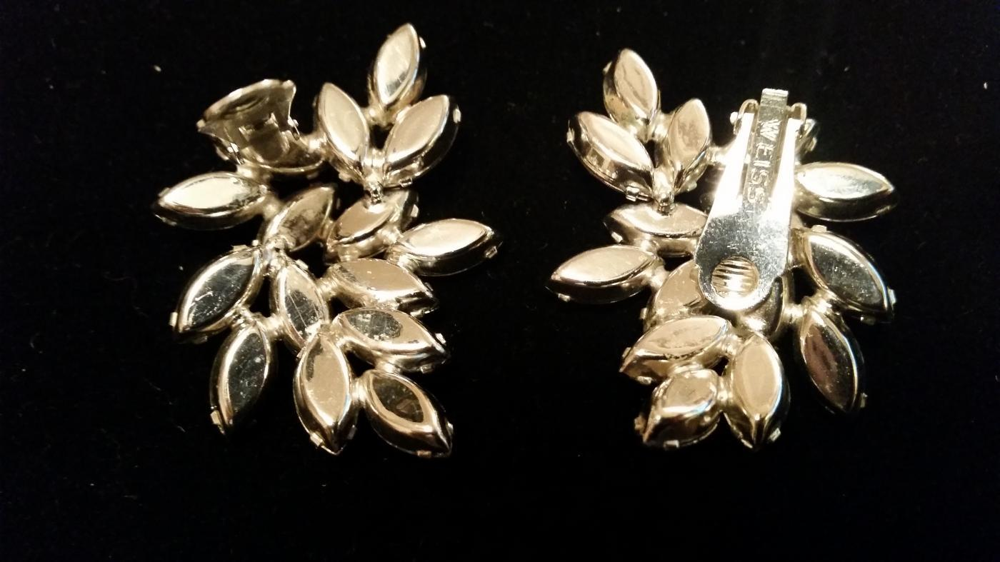 WEISS Lavender Rhinestone Clip Earrings
