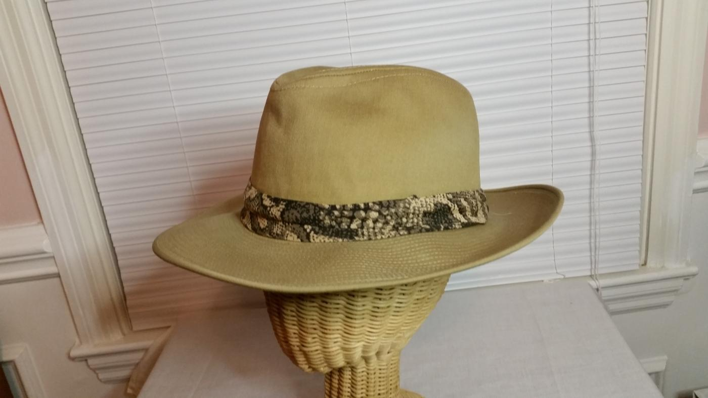 Men's Tan Heavy Water-Resistant Cotton Safari Fedora Hat