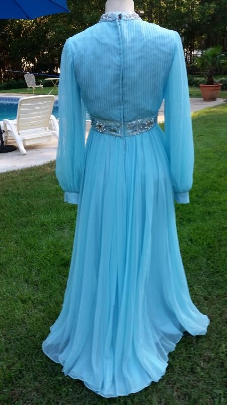 Vintage 70's Baby Blue Crepe Chiffon Evening Gown