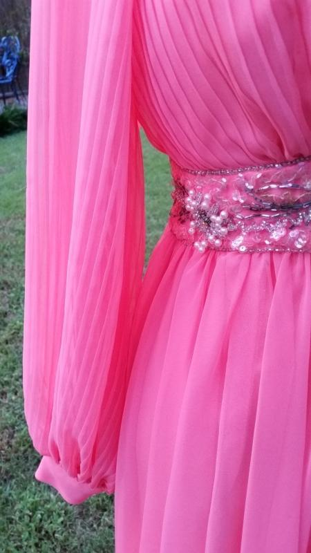 Vintage 70's Coral Crepe Chiffon Evening Gown