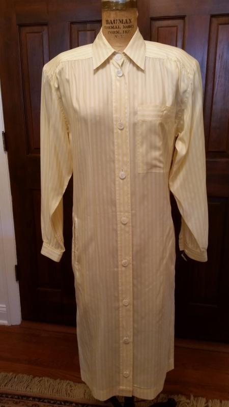 Vintage 1970's Gucci Yellow & White Striped Shirt Dress Size 38
