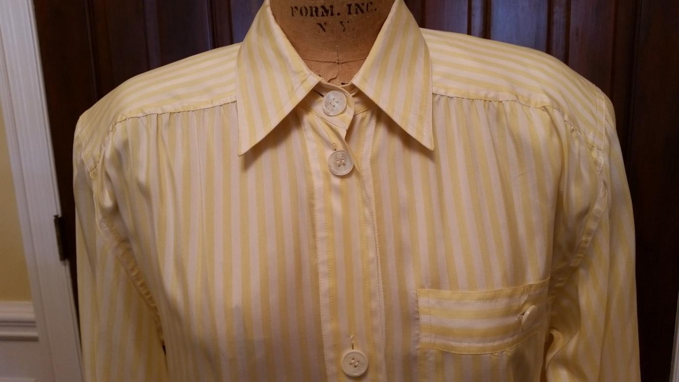 Vintage 1970's Gucci Yellow & White Striped Shirt Dress Size 38