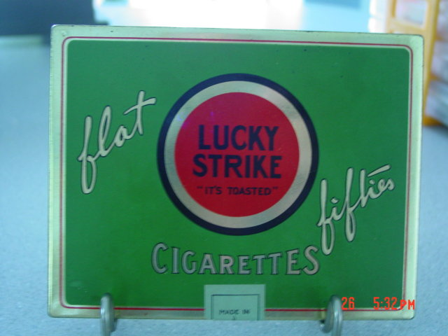 Green Lucky Strike Flat Fifties Cigarette Tin With Embroidered Silk Fitted Frame Lid