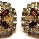 Schreiner Amber, Black & Clear Crystal Brooch & Clip Earrings