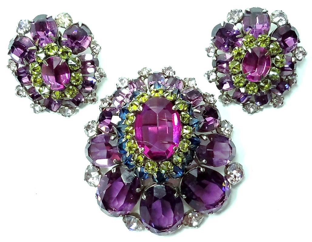 Schreiner Domed Amethyst Brooch/Pendant & Clip Earrings