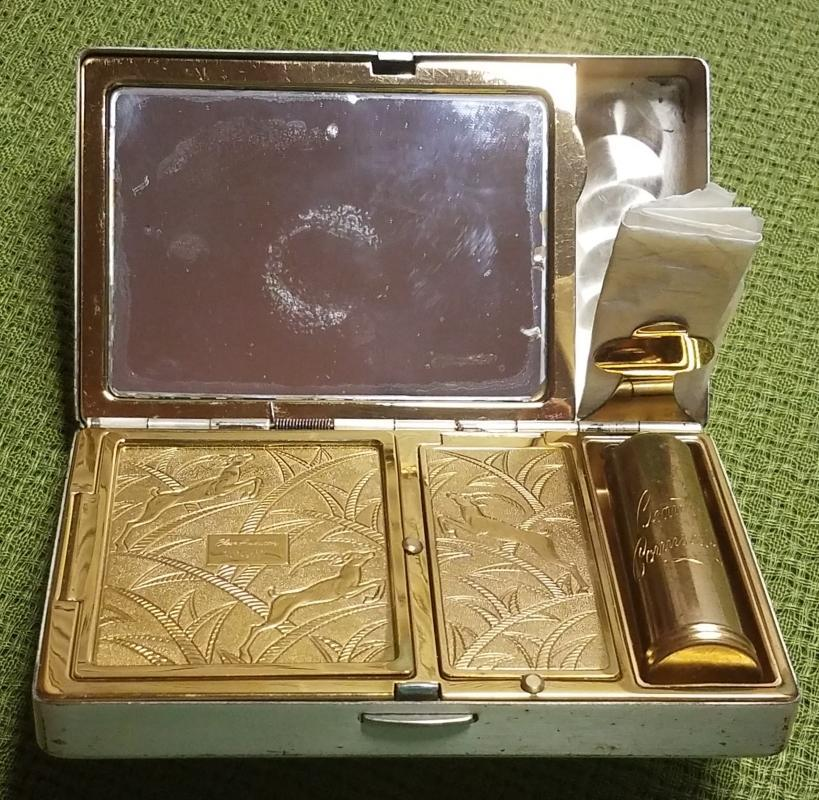 Elgin American Gold on Silver Carryall Compact Dance Purse Necessaire Minaudière