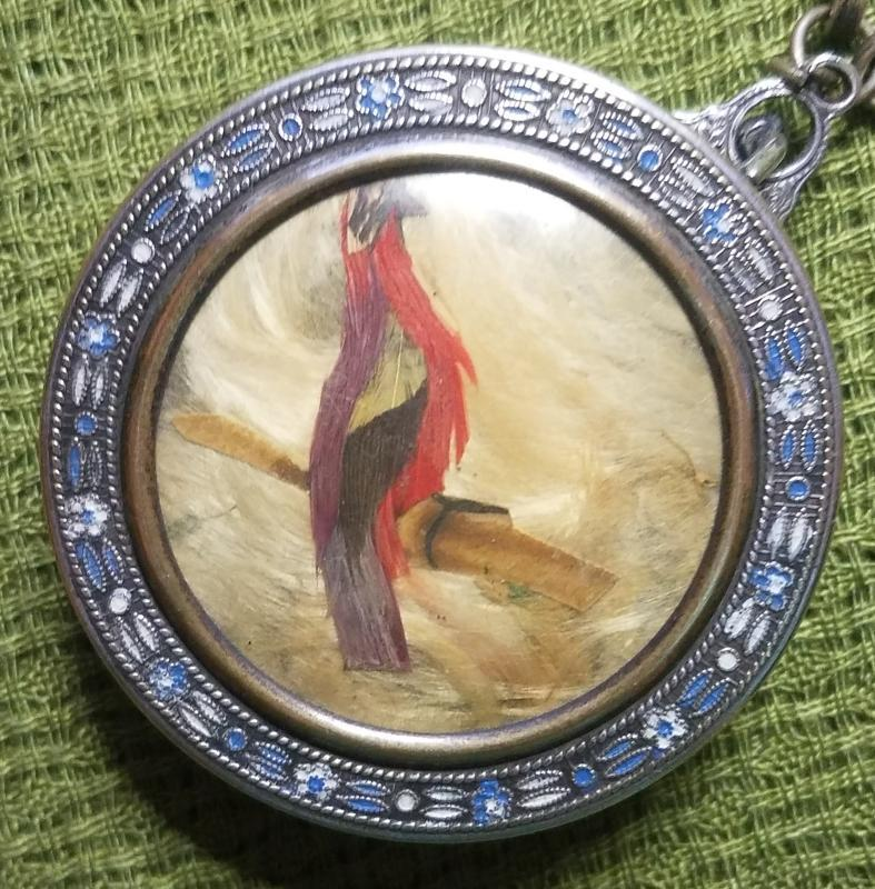Antique Necessaire Compact Bracelet with Feather Bird on Lid