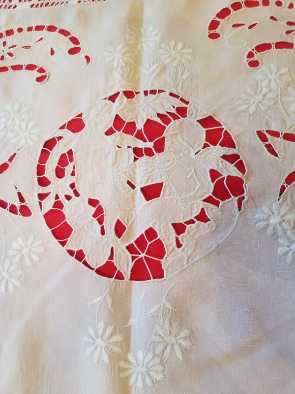 Beautiful  Off-White Linen Bedspread With Detailed Cutout Lace Work